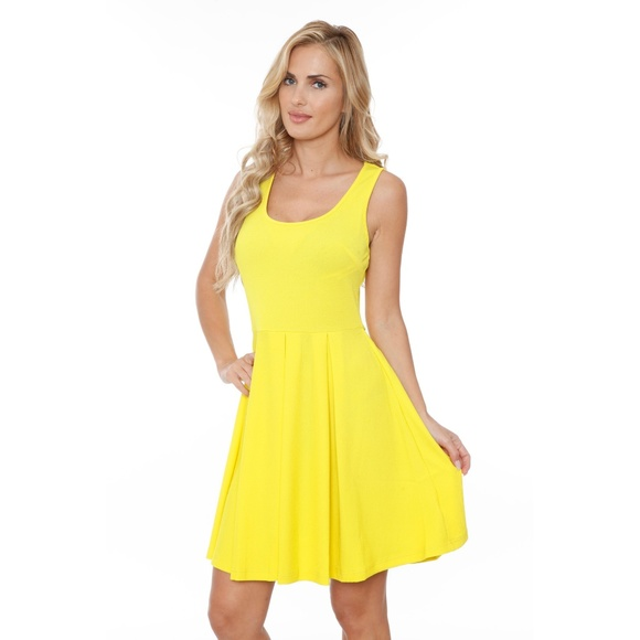 Plus Size \'Crystal\'Fit/Flare Dress:PS826-99 YELLOW Boutique
